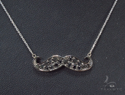 Prong Black Diamond Mustache Necklace 35266 Diamond