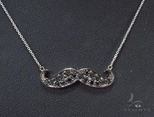 Prong Black Diamond Mustache Necklace 35266 Diamond