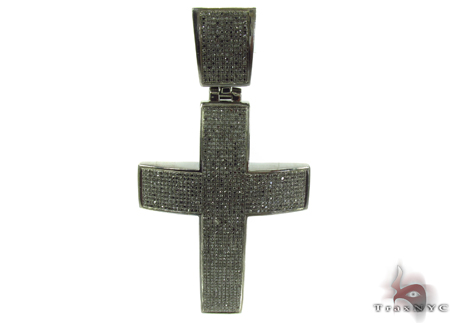 Prong Black Diamond Silver Cross Crucifix 32259 Silver