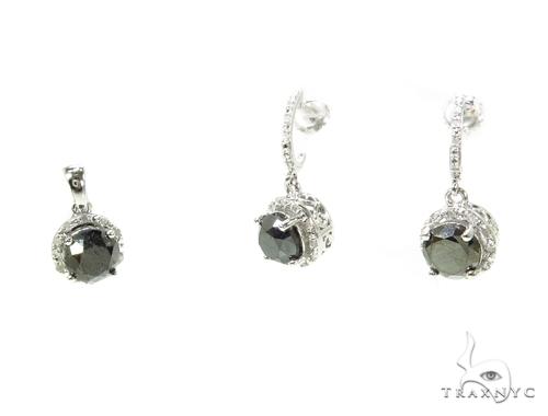 Prong Black Diamond Silver Pendant and Earrings Set Metal