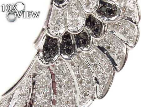 Prong Black and White Diamond Pinna Silver Pendant 32295 Metal