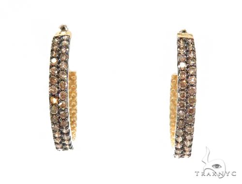 Prong Champagne Diamond Hoop Earrings 44490 Stone