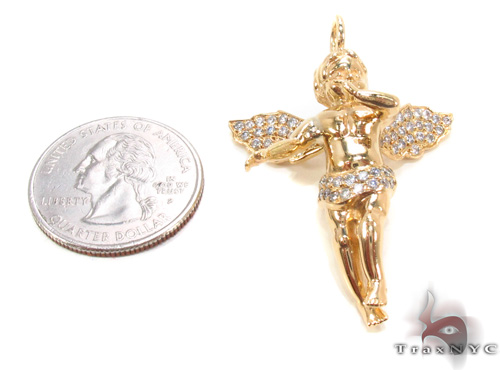 18K Gold Prong Diamond Angel Pendant 34693 Stone