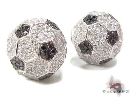 Prong Diamond Black and White Football Earrings 32692 Stone