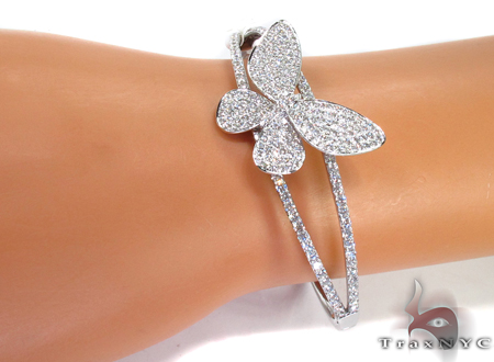 Prong Diamond Butterfly Bracelet 32085 Bangle