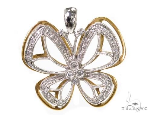 Prong Diamond Butterfly Pendant 39442 Stone