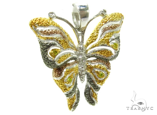 Prong Diamond Butterfly Silver Pendant 37185 Metal