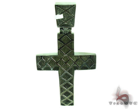 Prong Diamond Cross Crucifix 28833 Silver