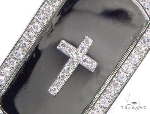 Prong Diamond Cross Crucifix Dog Tag 44894 Metal
