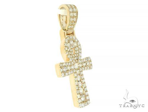14K Gold Diamond Ankh Cross 65849 Diamond Cross Pendants