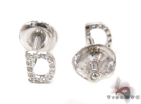 Prong Diamond  Initial 'D' Earrings 32630 Stone