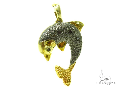 Prong Diamond Dolphin Silver Pendant 37175 Metal