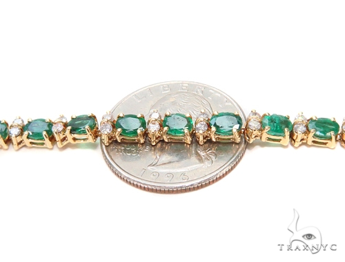 Prong Diamond Emerald Bracelet 43268 Gemstone & Pearl