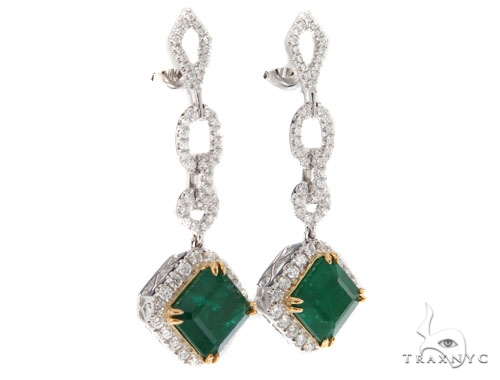 Prong Diamond Emerald Earrings 42421 Stone