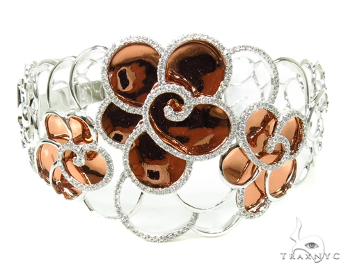 Prong Diamond Flower Bangle Bracelet 38003 Bangle