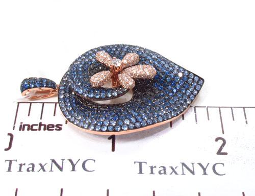 14k Rose Gold Sapphire & Diamond Flower Pendant 34024 Stone