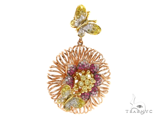 Flower and Butterflies Colored Sapphire & Diamond Pendant 38022 Stone