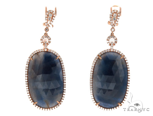 Prong Diamond & Sapphire Earrings 42434 Stone