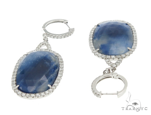 Prong Diamond & Sapphire Earrings 42438 Stone