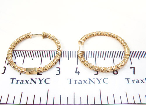 Prong Diamond Gold Hoop Earrings 34494 Style