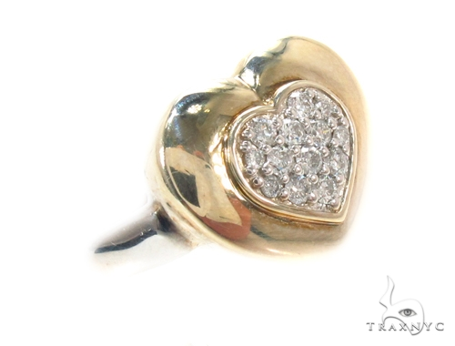 Prong Diamond Heart Silver Ring 35575 Anniversary/Fashion