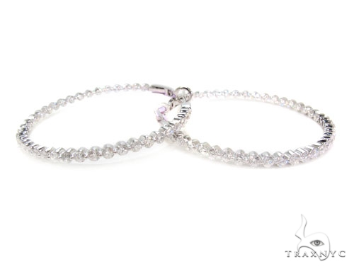 Prong Diamond Hoop Earrings 36102 Style