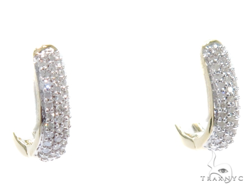 Prong Diamond Hoop Earrings 41864 Style
