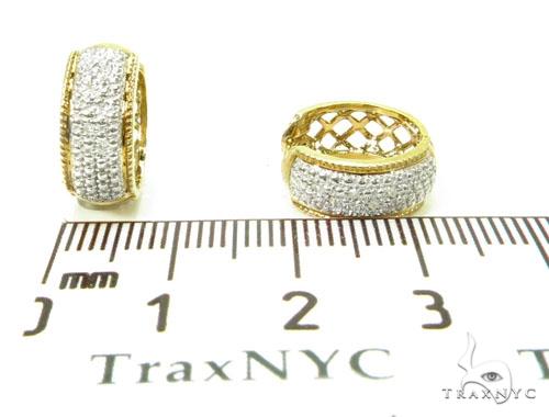 Prong Diamond Hoop Silver Earrings 37274 Metal