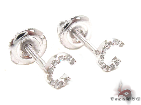 Prong Diamond Initial 'C' Earrings 32632 Stone