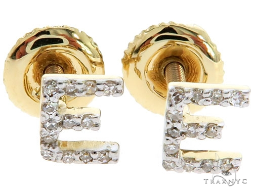 Prong Diamond Initial 'E' Earrings 57168 Stone