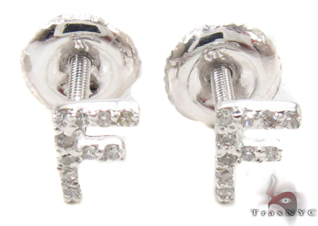 Prong Diamond Initial 'F' Earrings 32634 Stone
