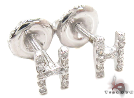 Prong Diamond Initial 'H' Earrings 32636 Stone