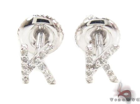 Prong Diamond Initial 'K' Earrings 32645 Stone