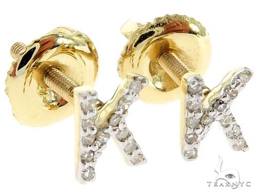 Prong Diamond Initial 'K' Earrings 57159 Stone