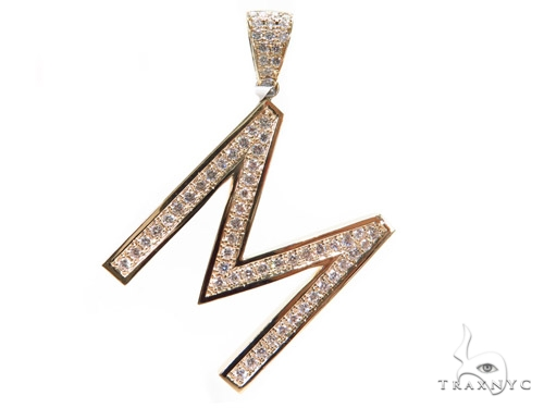 Prong Diamond Initial 'M' Pendant 40774 Style