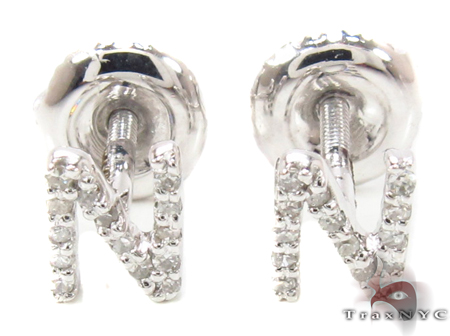 Prong Diamond Initial 'N' Earrings 32648 Stone