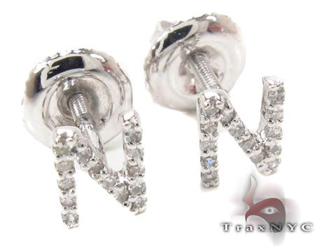 Prong Diamond Initial 'N' Earrings 32648 Stone