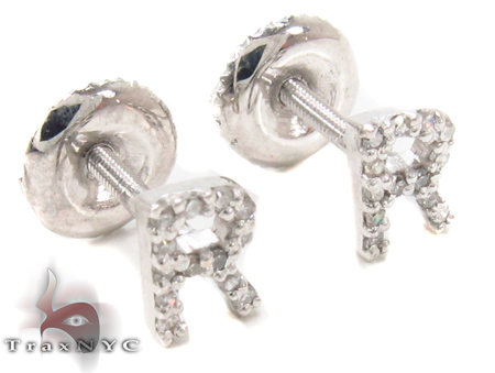 Prong Diamond Initial 'R' Earrings 32651 Stone