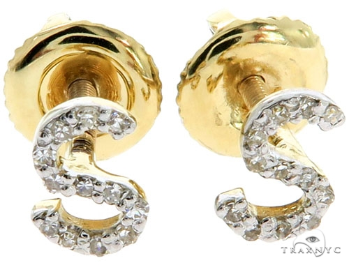 Prong Diamond Initial 'S' Earrings 57165 Stone