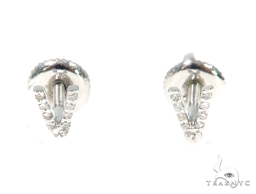 Prong Diamond Initial 'V' Earrings 32654 Stone