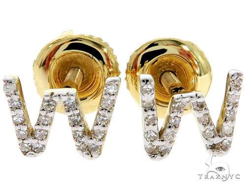 Prong Diamond Initial 'W' Earrings 57147 Stone