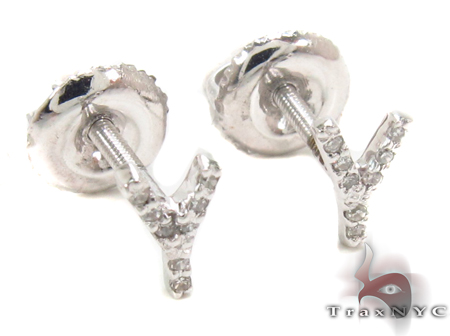 Prong Diamond Initial 'Y' Earrings 32656 Stone