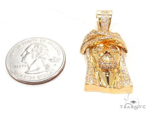 14K Prong Diamond Jesus Pendant 35499 Style