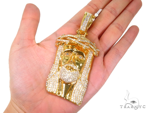 Prong Diamond Jesus Piece Pendant 40714 Style