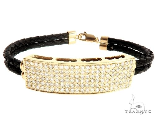 14k Yellow Gold Diamond Leather Rope Bracelet 41580 Diamond