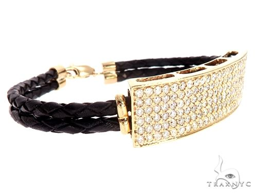 14k Yellow Gold Diamond Leather Rope Bracelet 41580 Diamond