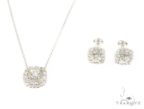 Prong Diamond Necklace and Earrings Set 45107 Diamond