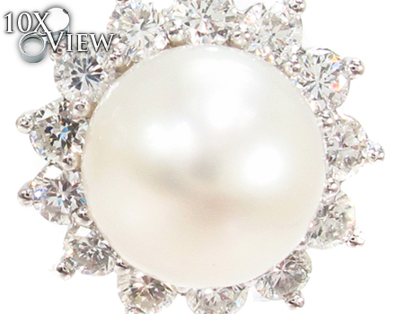 Prong Diamond Pearl Earrings 32064 Stone