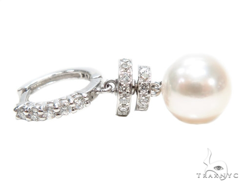 Prong Diamond Pearl Hoop Earrings 42319 Stone