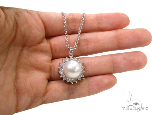 Prong Diamond Pearl Necklace 37699 Pearl